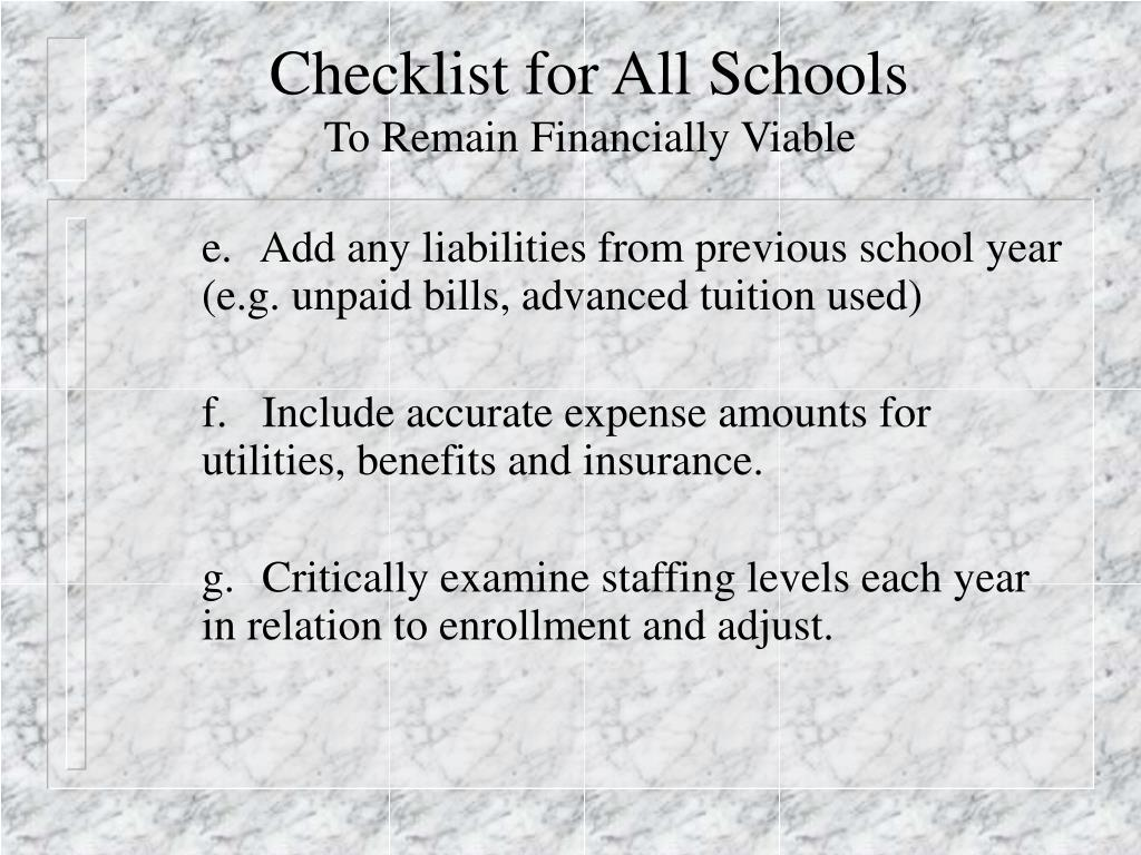 Checklist for All Schools