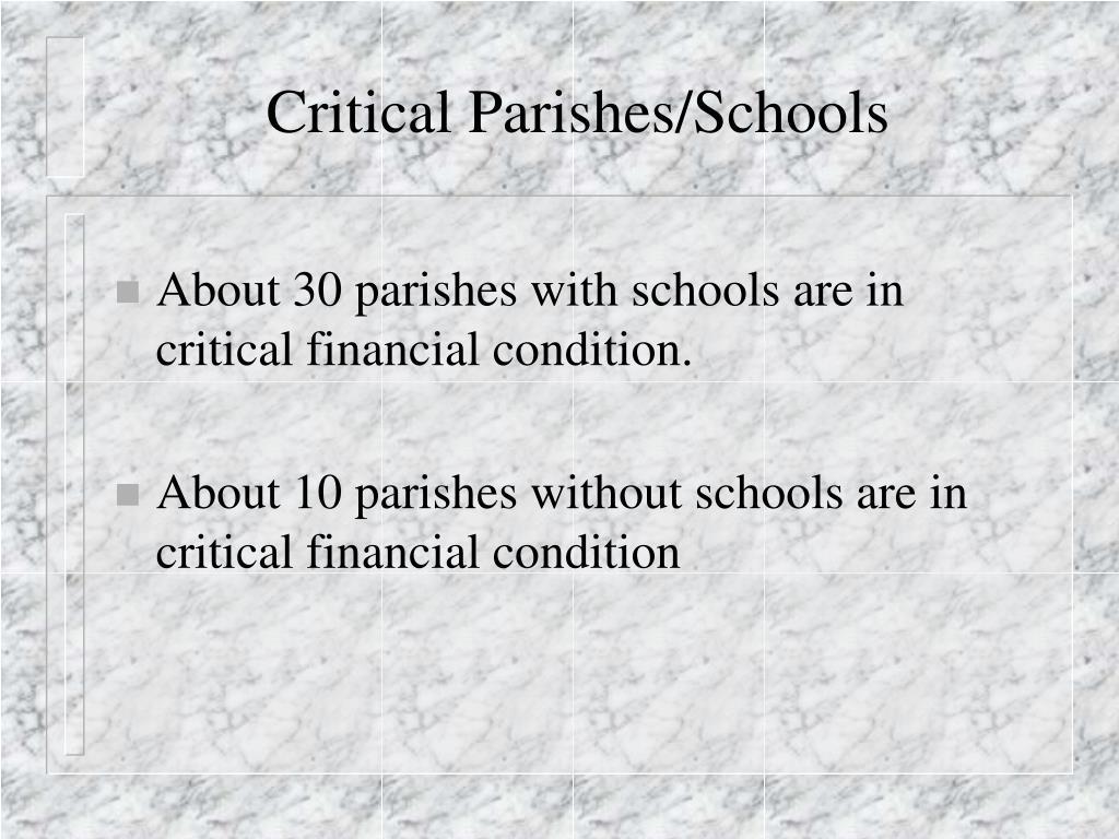 Critical Parishes/Schools