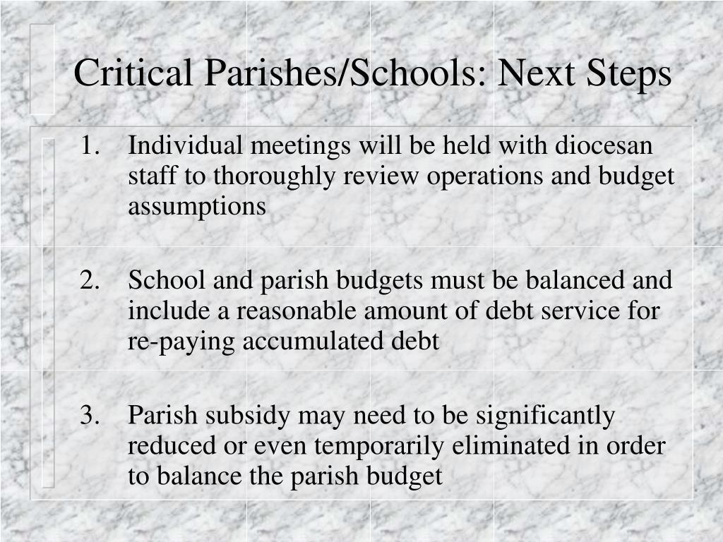 Critical Parishes/Schools: Next Steps