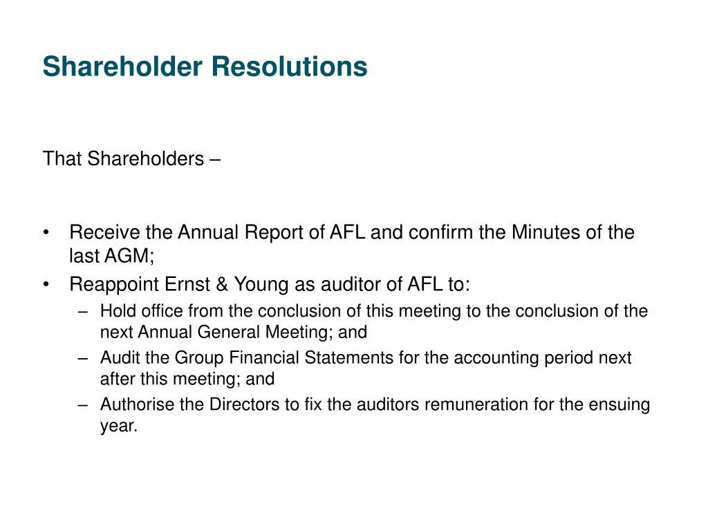Shareholder Resolutions