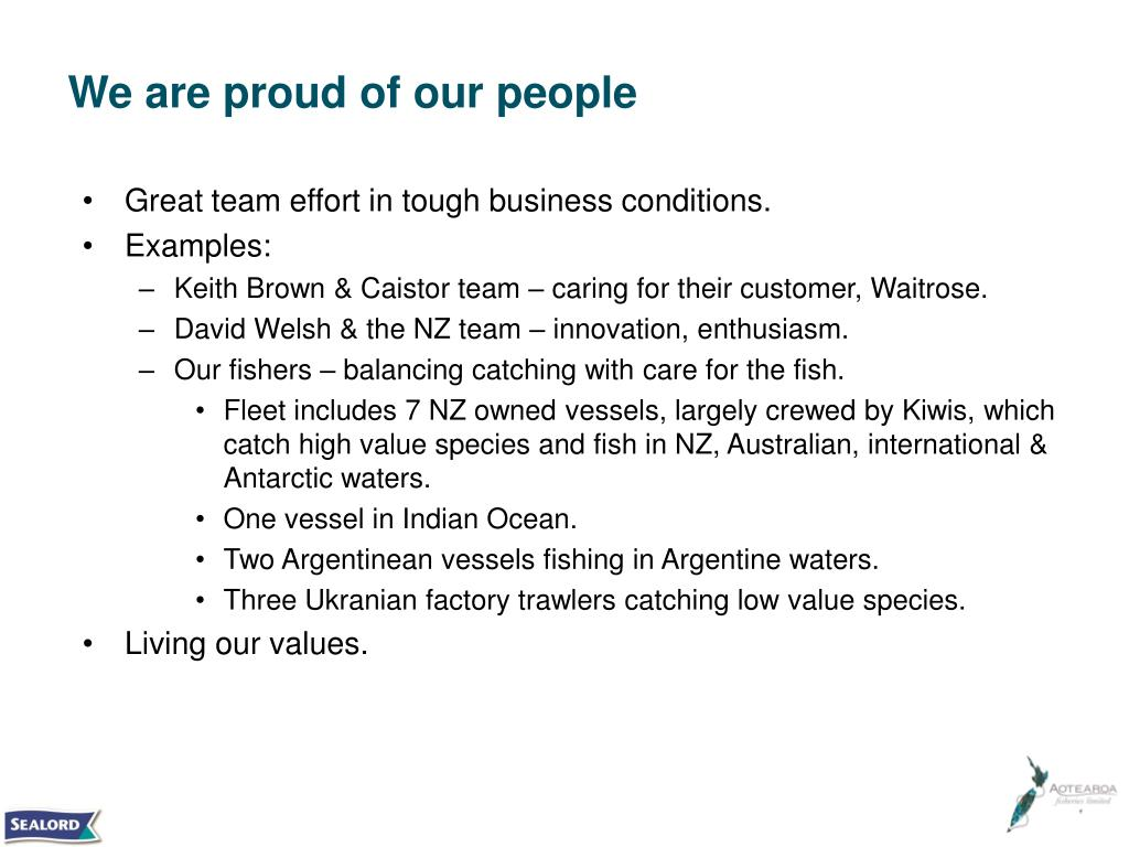 We are proud of our people
