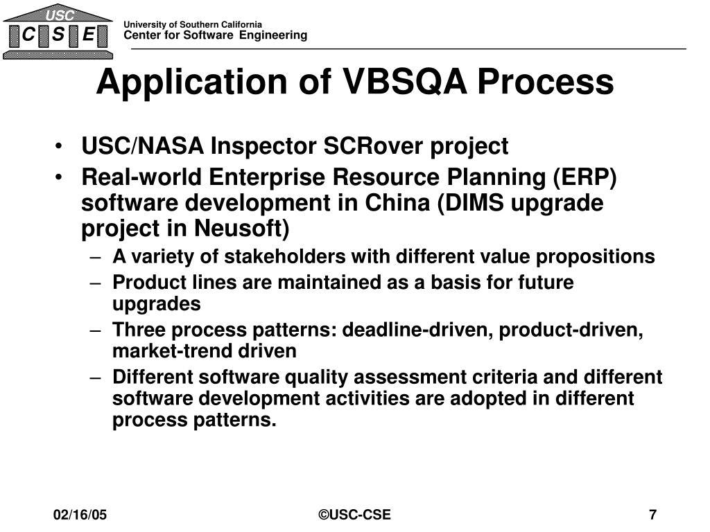 Application of VBSQA Process