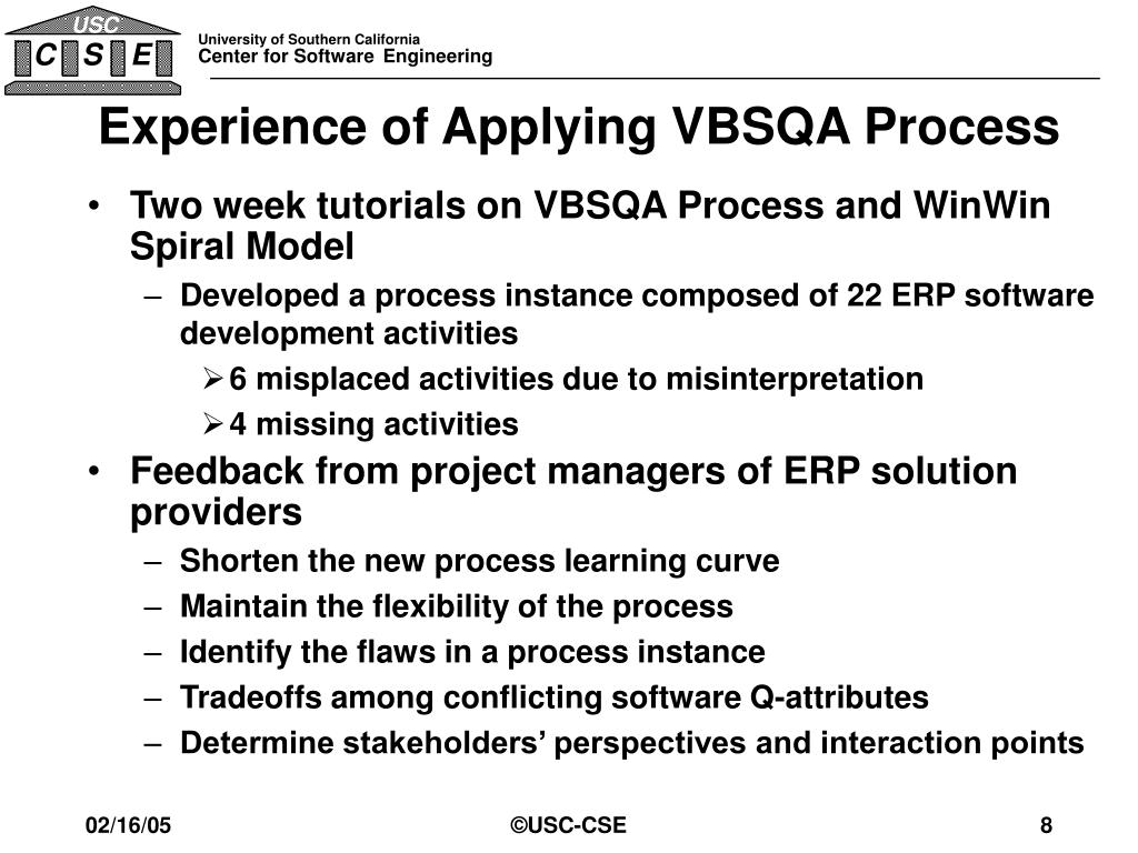 Experience of Applying VBSQA Process