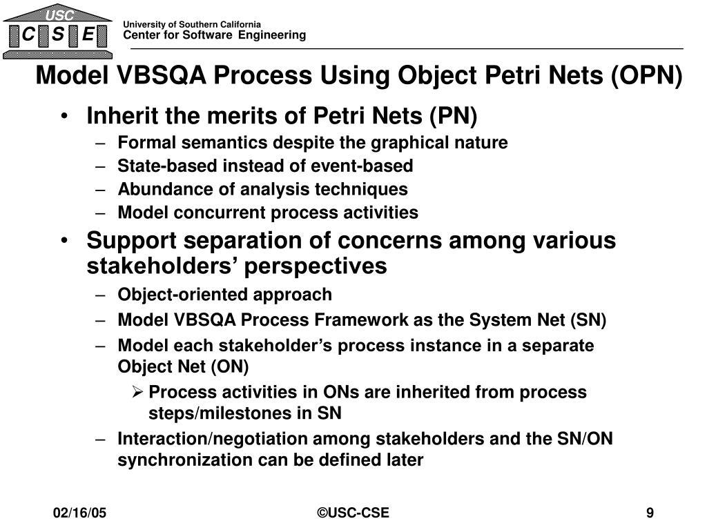 Model VBSQA Process Using Object Petri Nets (OPN)