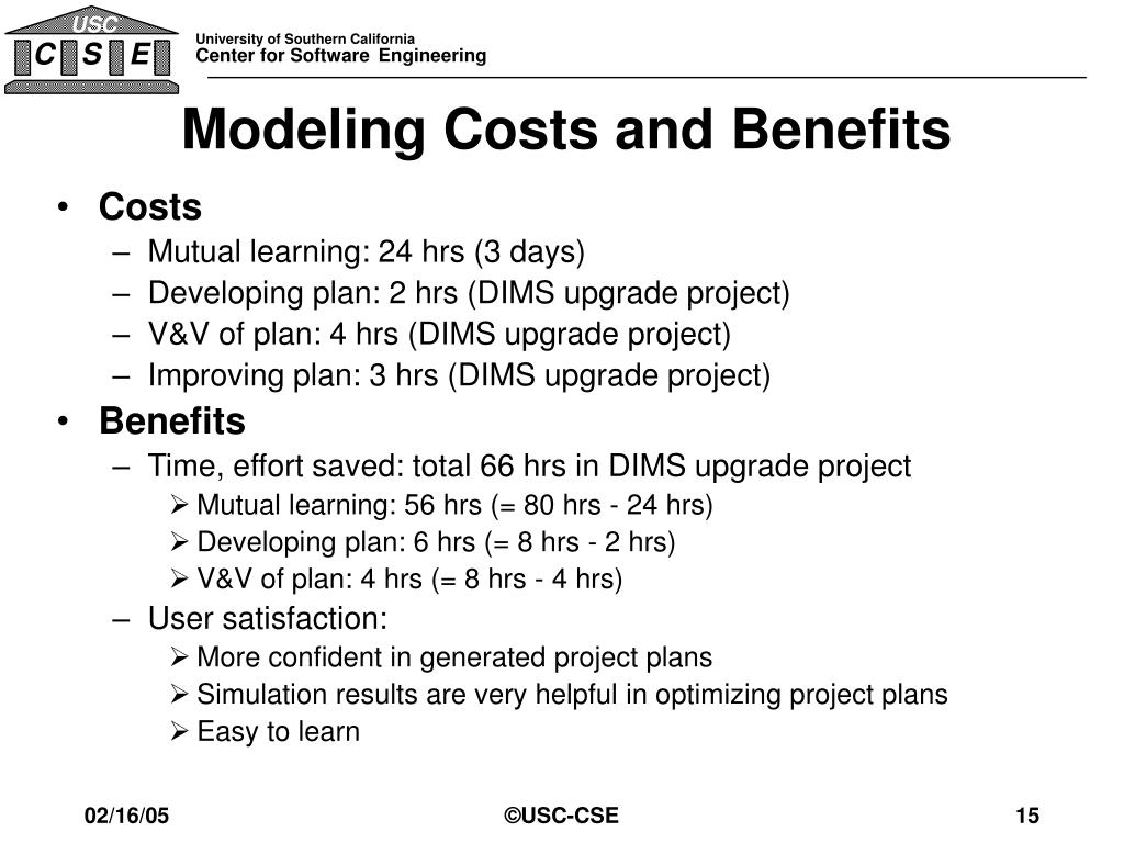 Modeling Costs and Benefits