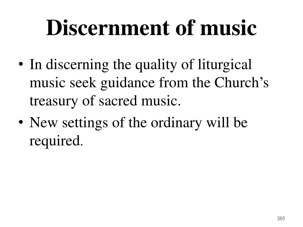Discernment of music