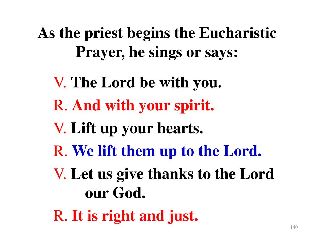 As the priest begins the Eucharistic Prayer, he sings or says: