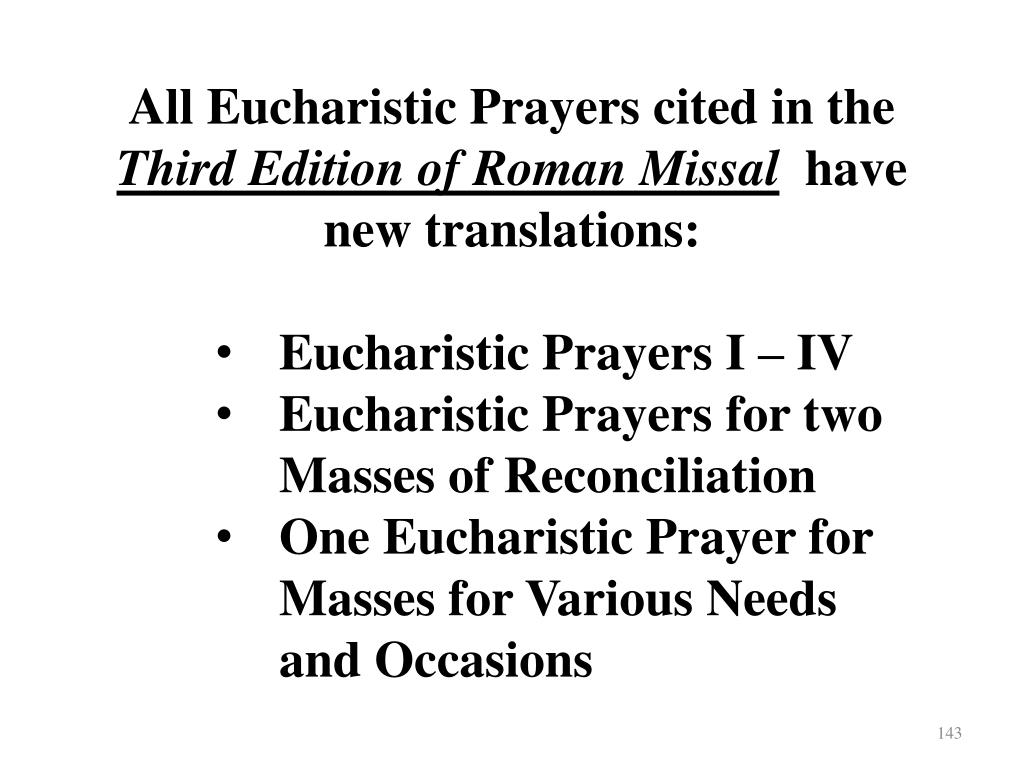 All Eucharistic Prayers cited in the