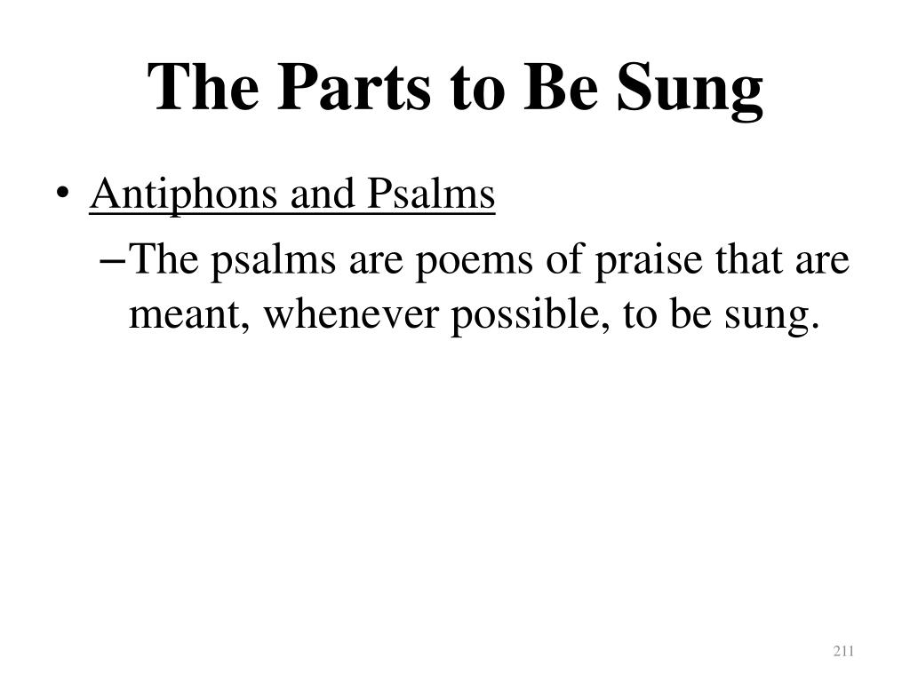 The Parts to Be Sung