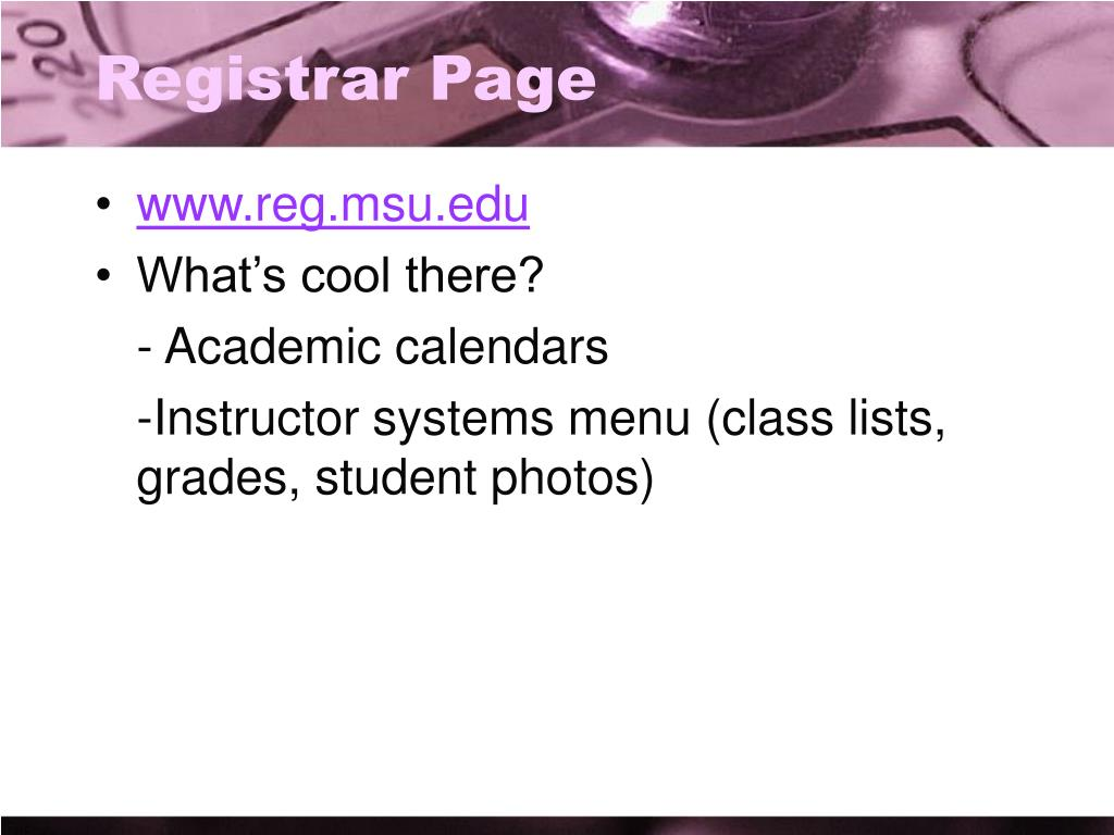 Registrar Page