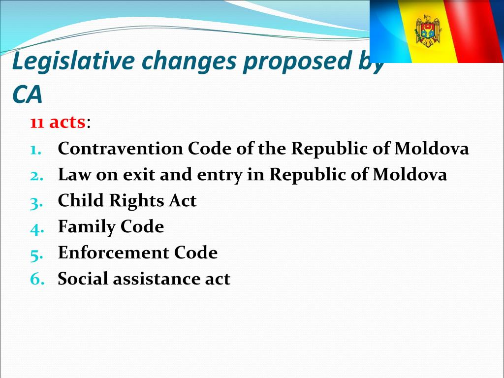 Legislative changes proposed by CA