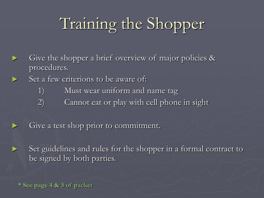 Training the Shopper
