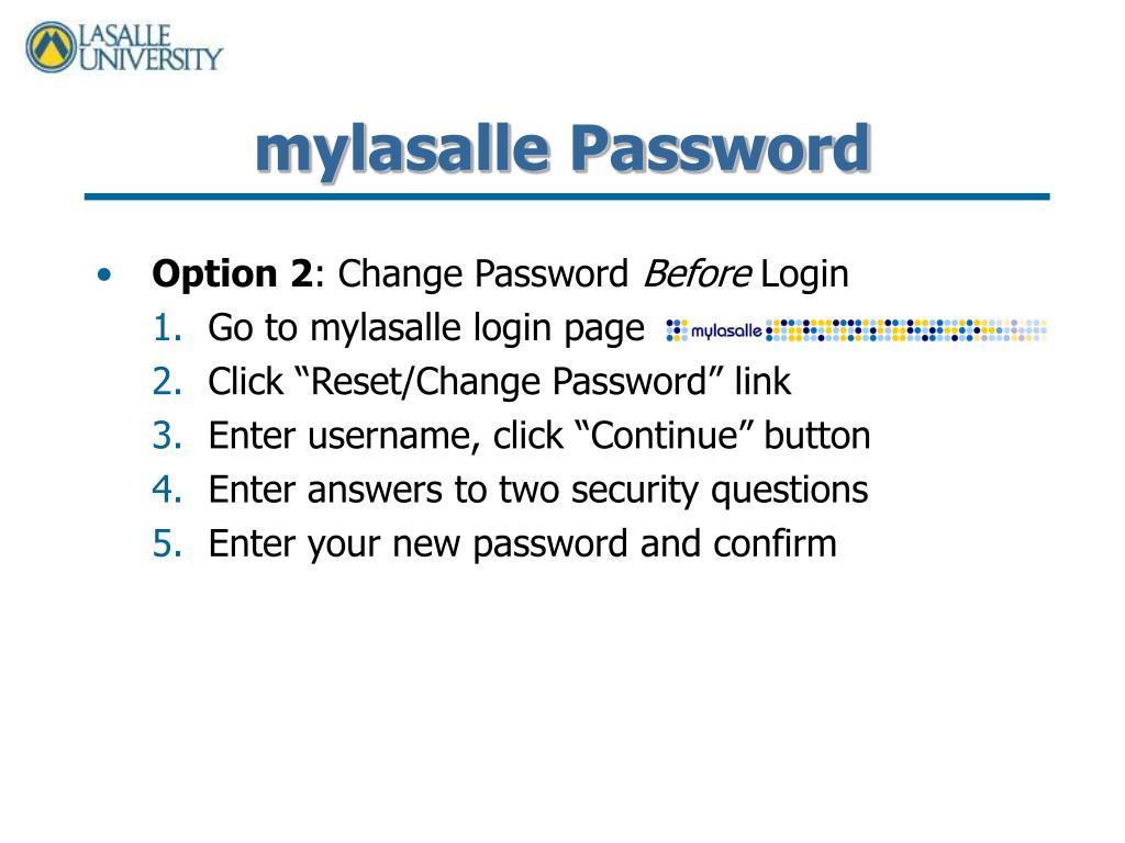 mylasalle Password