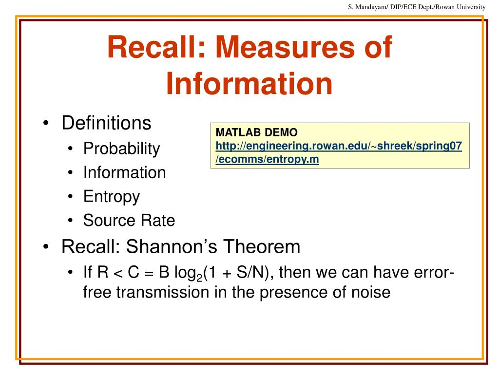 Recall: Measures of Information