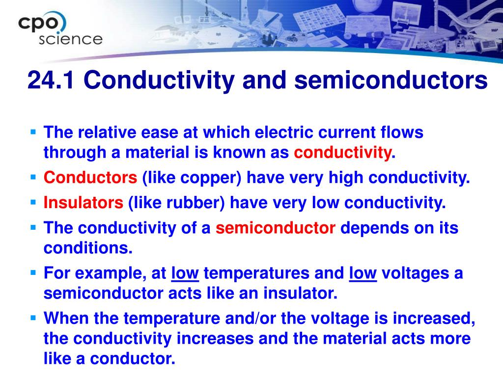 24.1 Conductivity and semiconductors