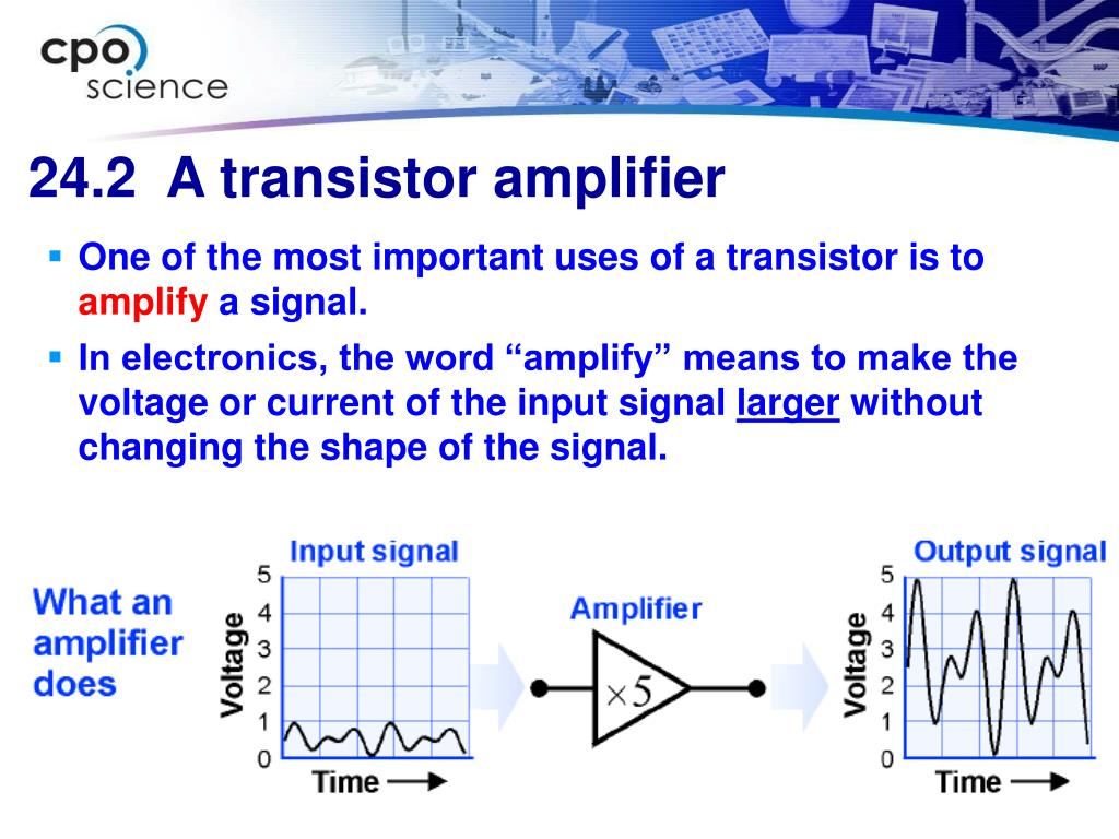 One of the most important uses of a transistor is to