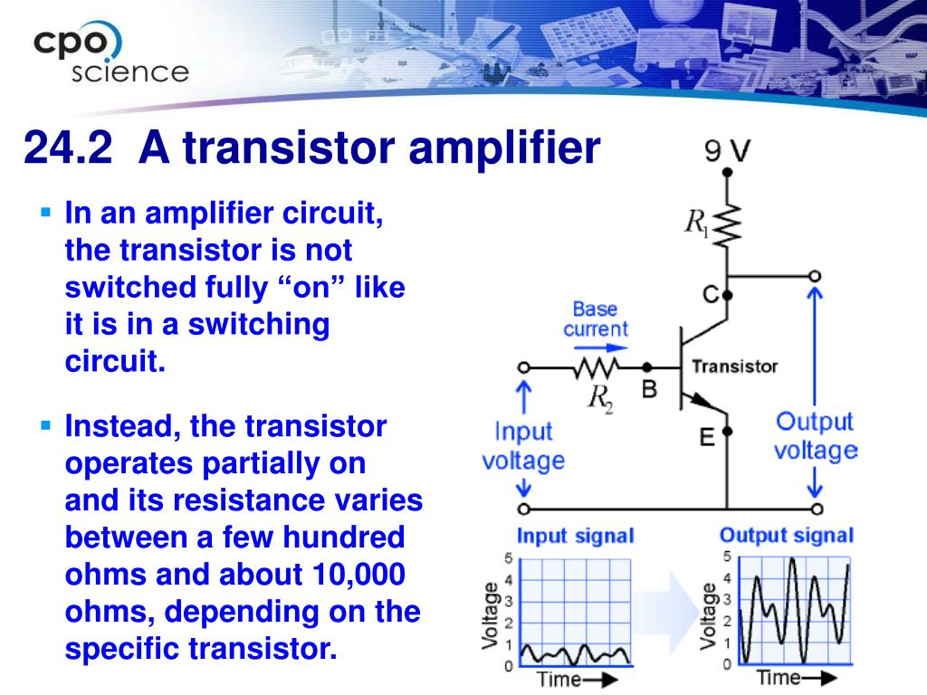 "In an amplifier circuit, the transistor is not switched fully ""on"" like it is in a switching circuit."
