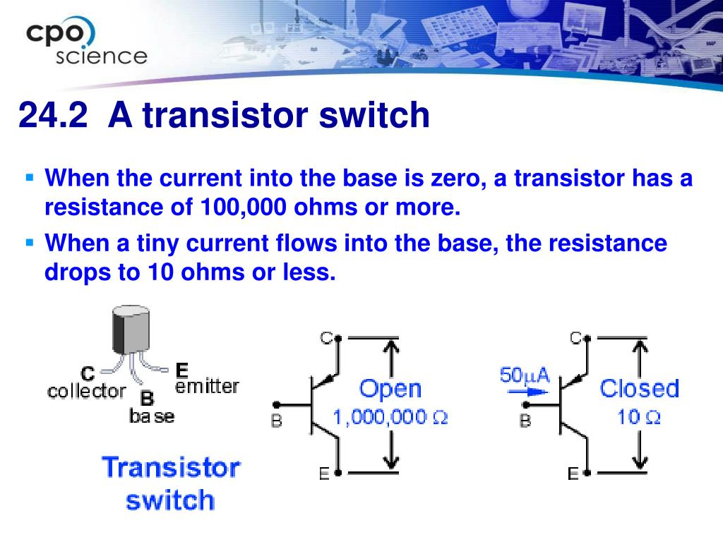 When the current into the base is zero, a transistor has a resistance of 100,000 ohms or more.