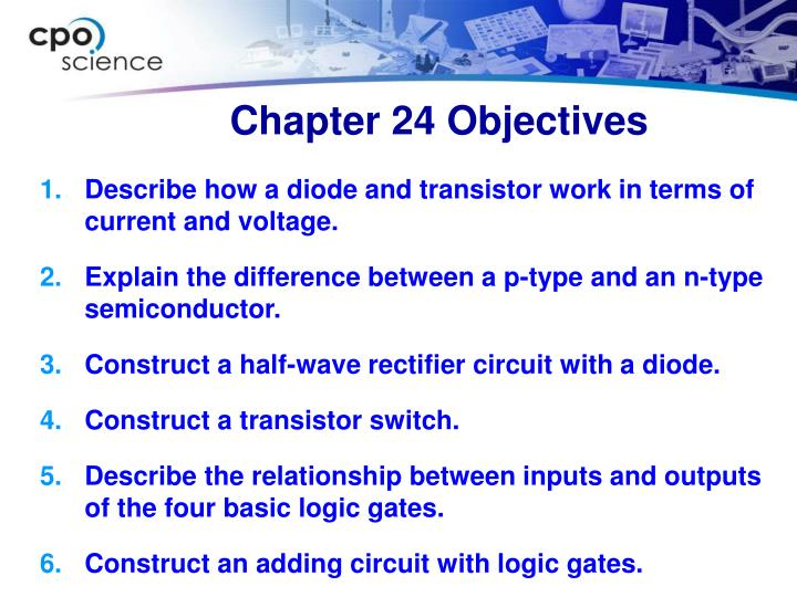 Chapter 24 objectives