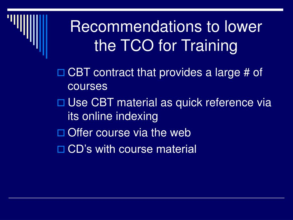 Recommendations to lower the TCO for Training