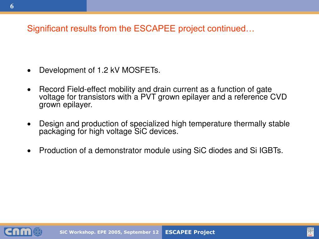 Development of 1.2 kV MOSFETs.