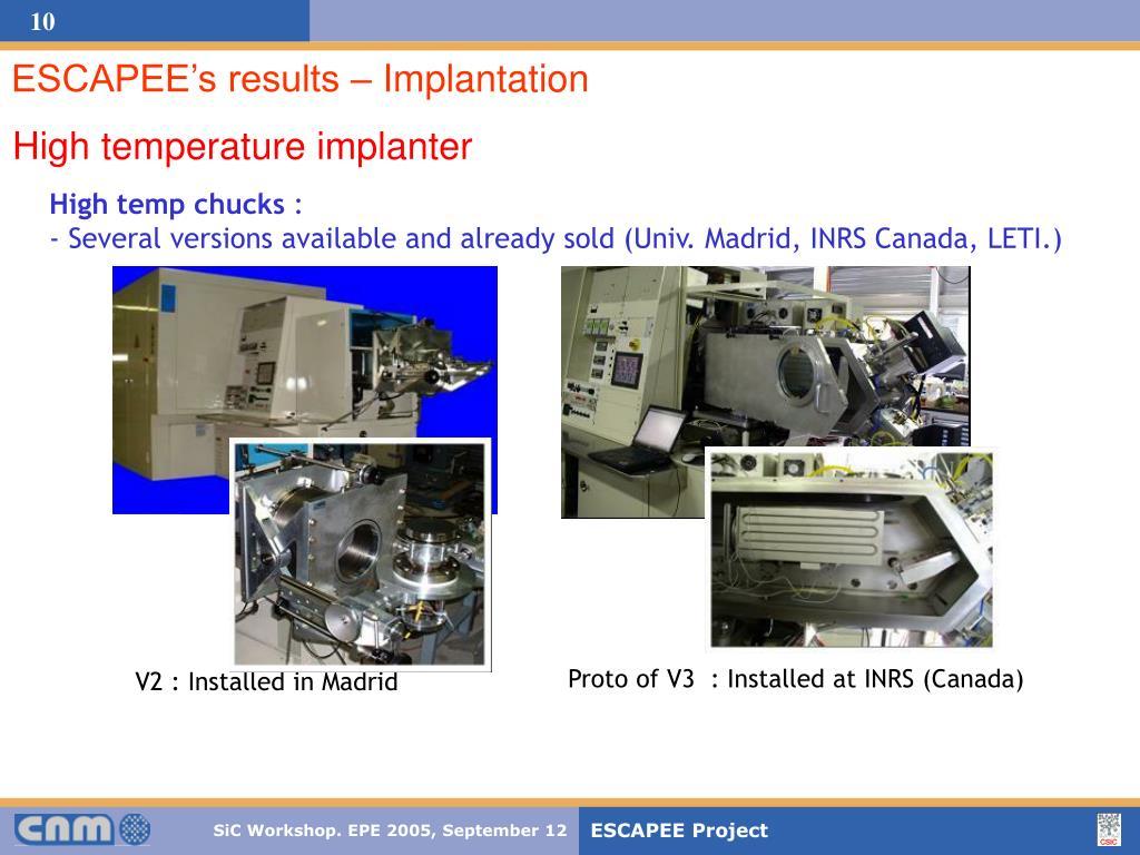 ESCAPEE's results – Implantation