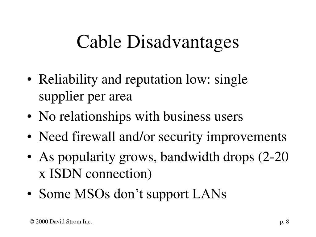 Cable Disadvantages