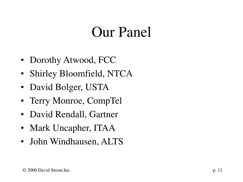 Our Panel