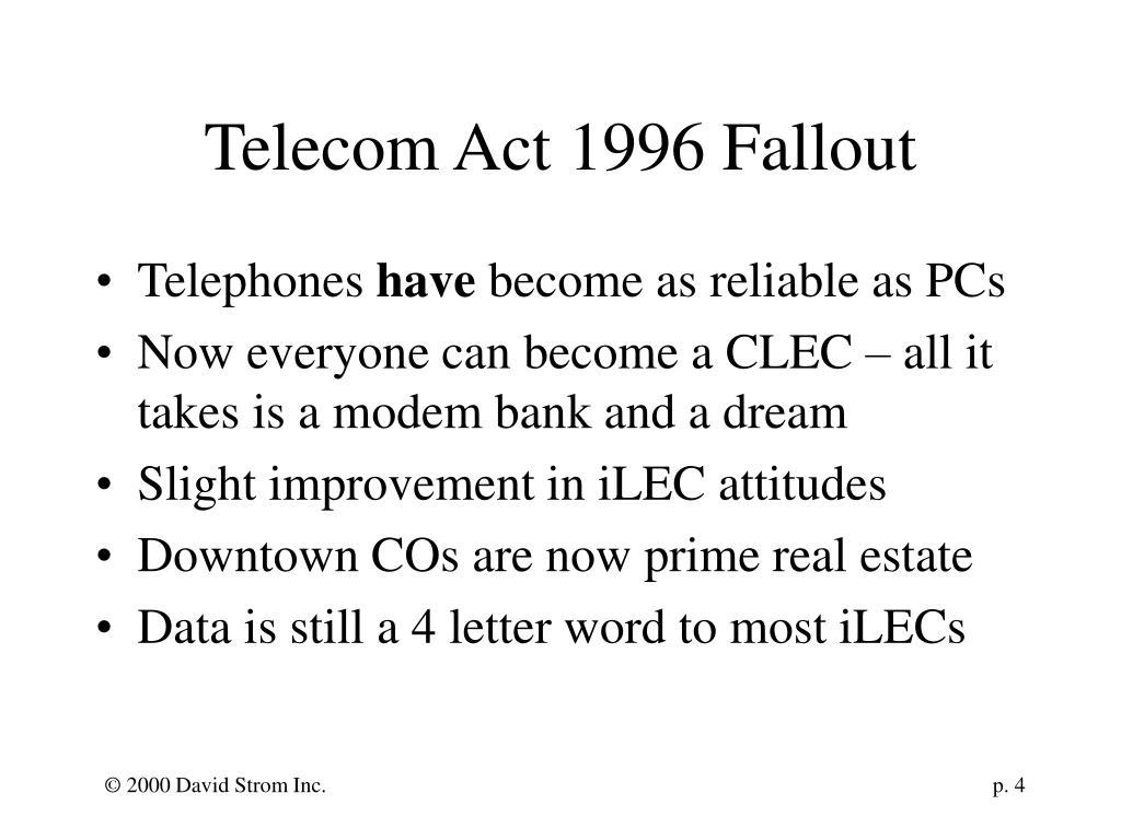 Telecom Act 1996 Fallout