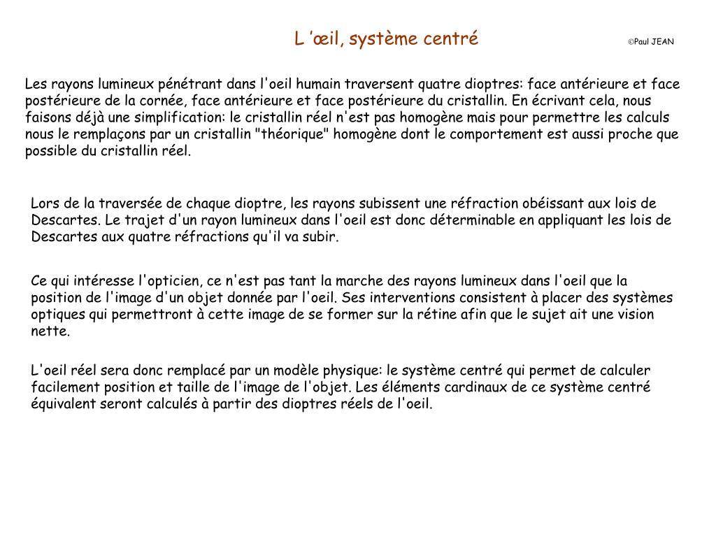 L'œil, système centré