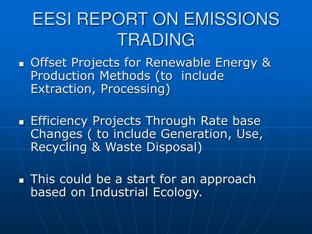 EESI REPORT ON EMISSIONS TRADING