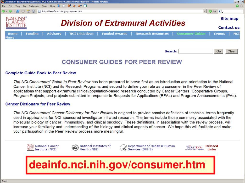 deainfo.nci.nih.gov/consumer.htm