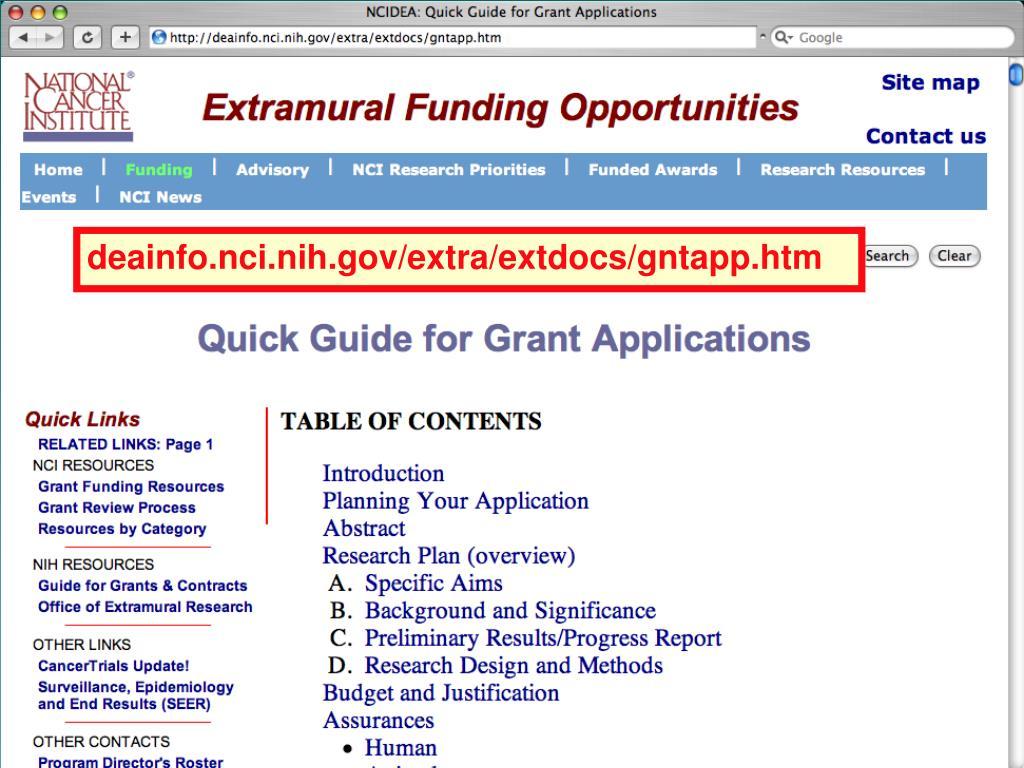 deainfo.nci.nih.gov/extra/extdocs/gntapp.htm