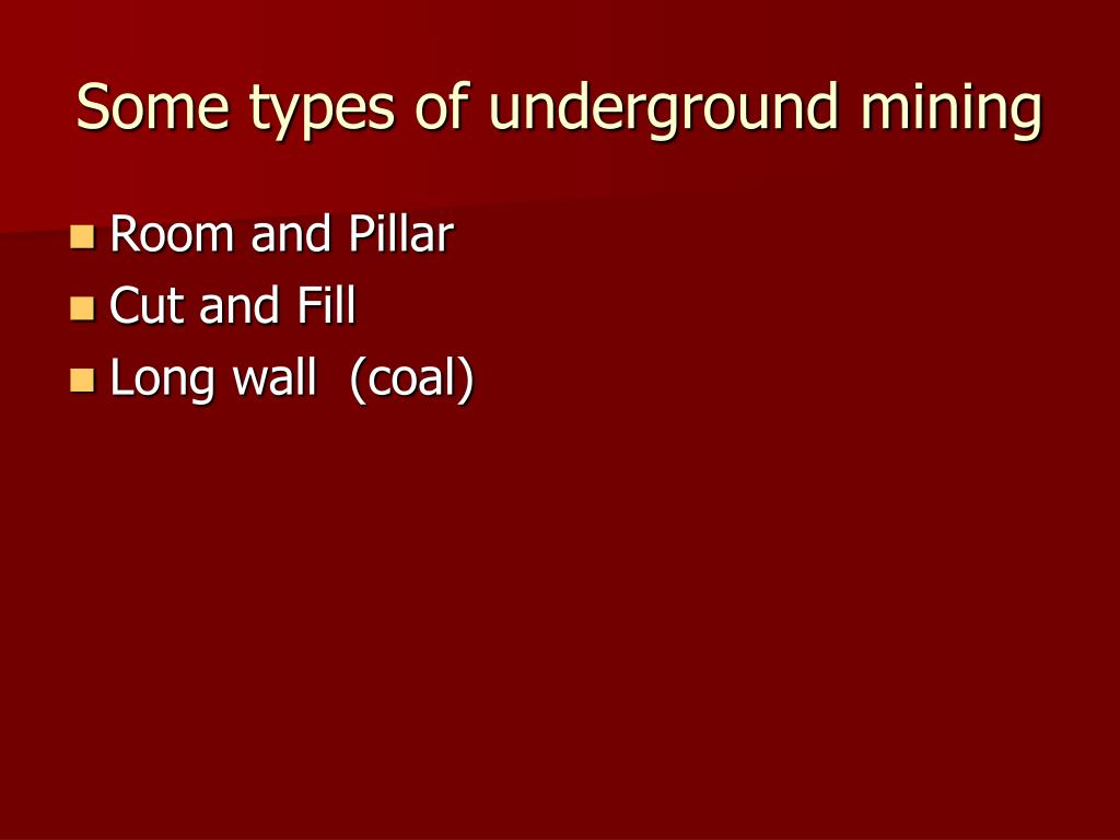 Some types of underground mining