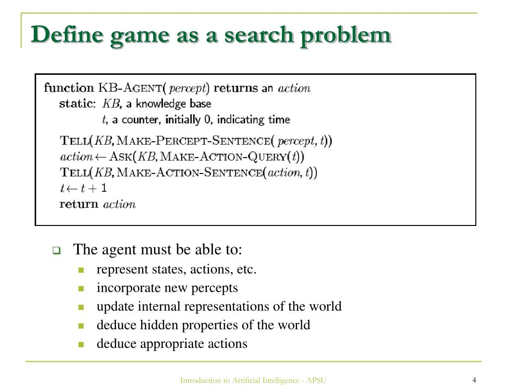 Define game as a search problem