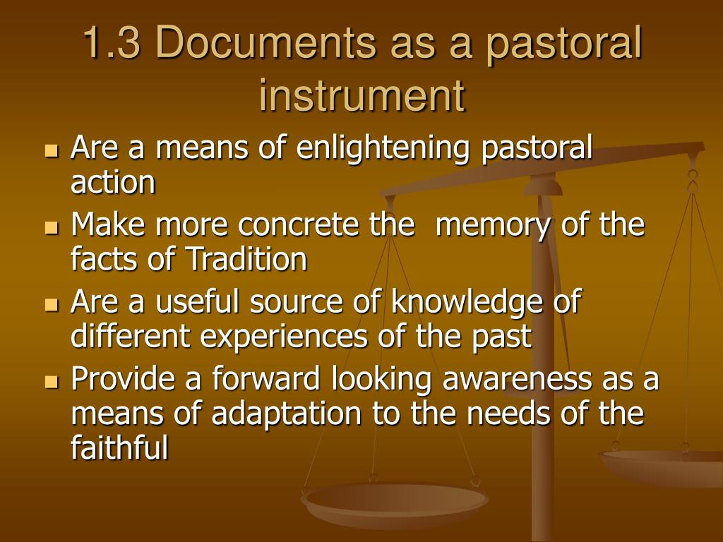 1.3 Documents as a pastoral instrument