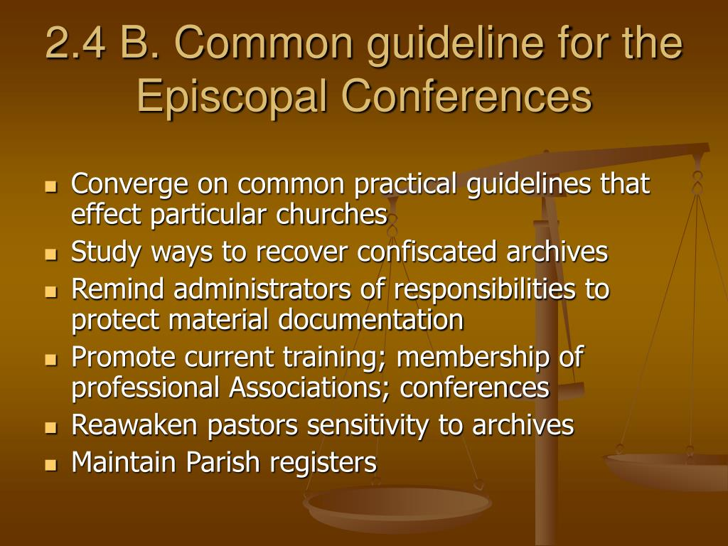 2.4 B. Common guideline for the Episcopal Conferences