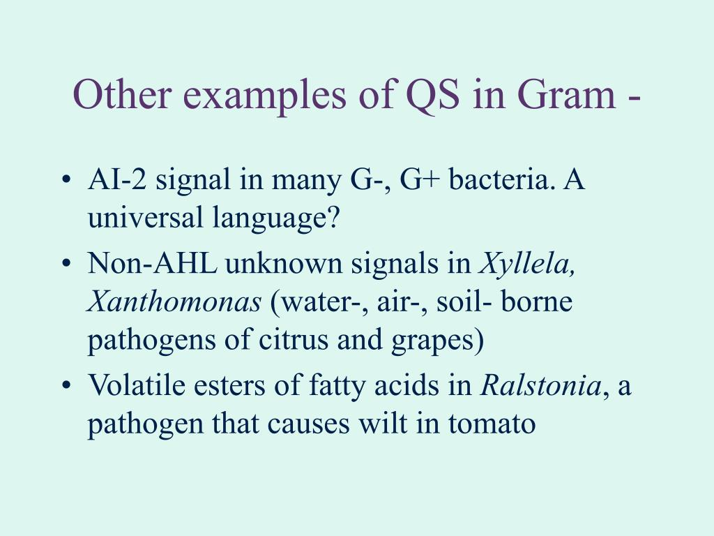 Other examples of QS in Gram -