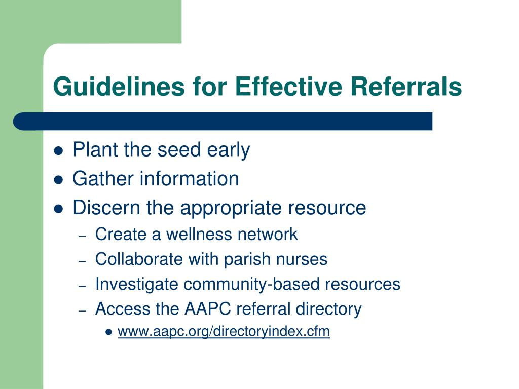 Guidelines for Effective Referrals