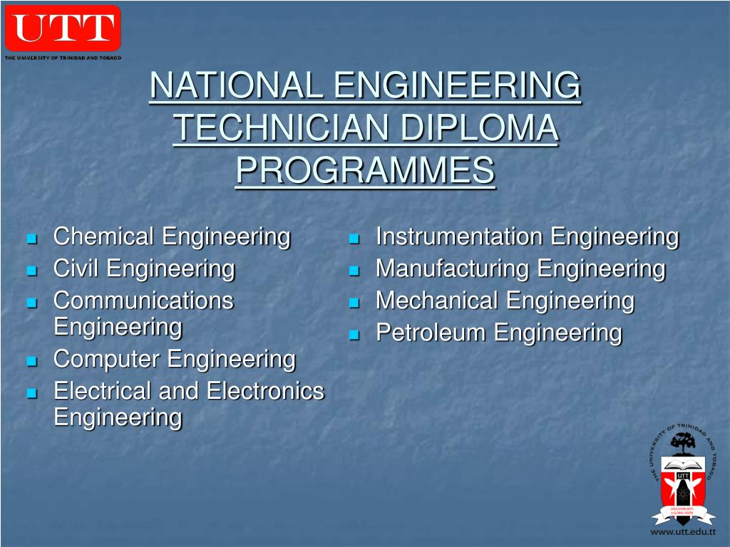 NATIONAL ENGINEERING TECHNICIAN DIPLOMA PROGRAMMES