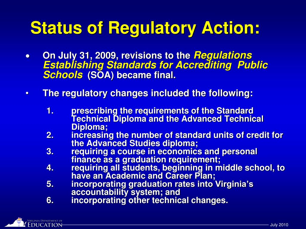 Status of Regulatory Action: