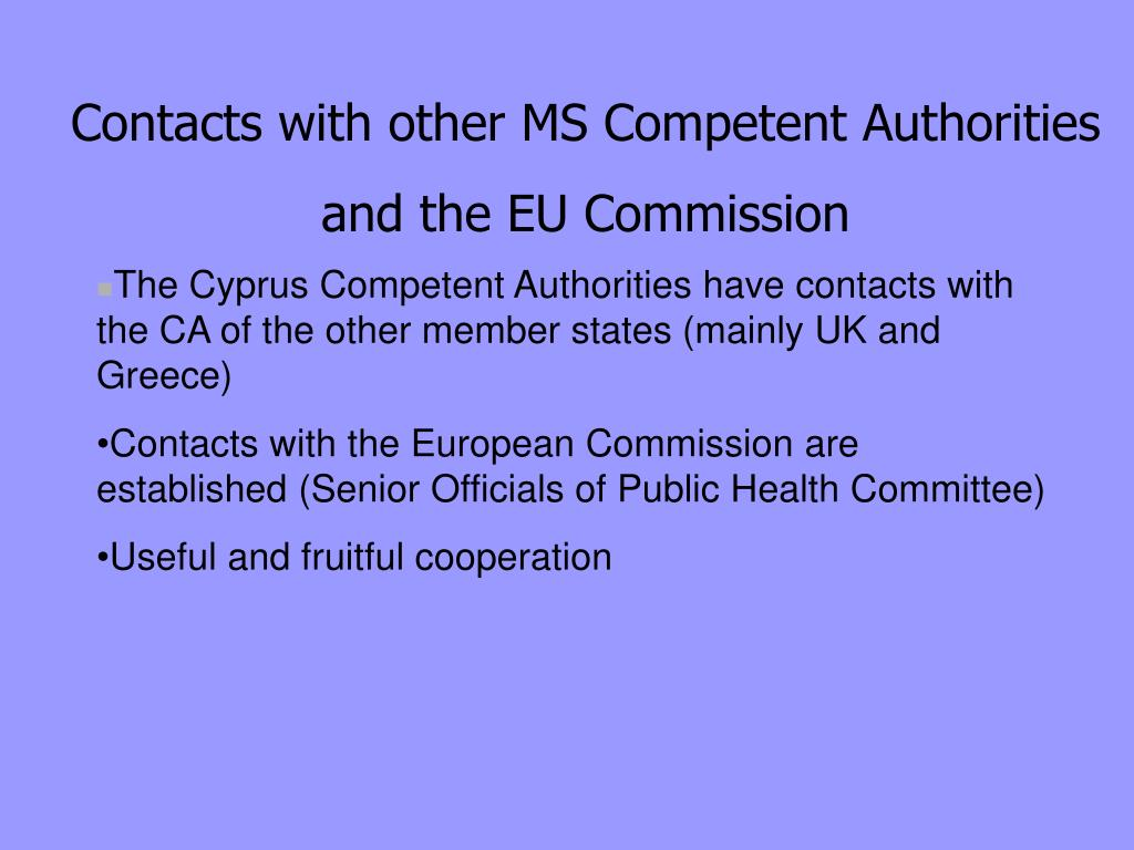 Contacts with other MS Competent Authorities