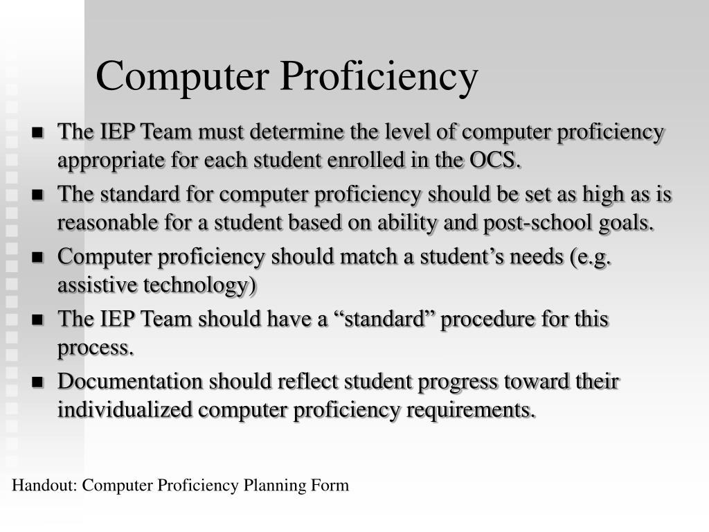 Computer Proficiency