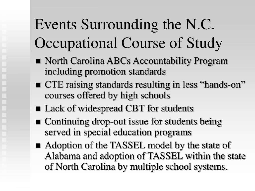 Events Surrounding the N.C. Occupational Course of Study