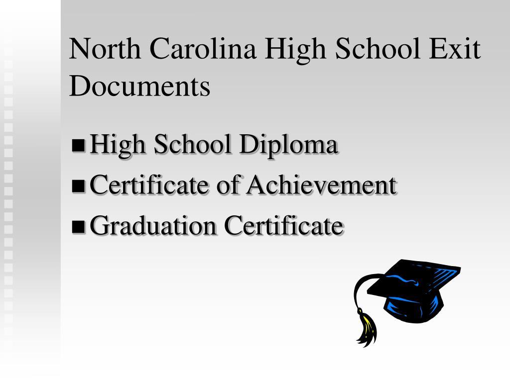 North Carolina High School Exit Documents