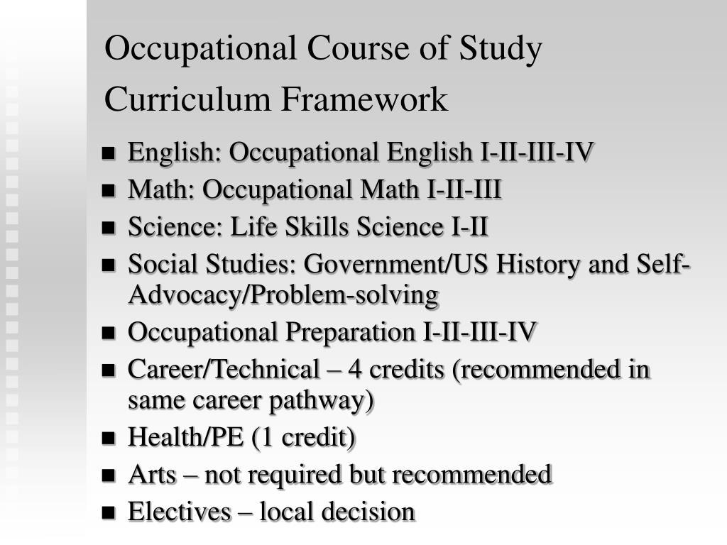 Occupational Course of Study Curriculum Framework