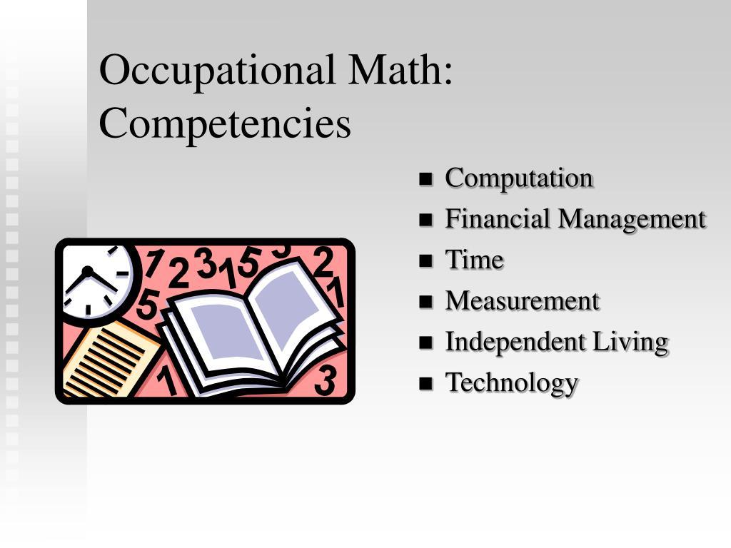 Occupational Math: Competencies