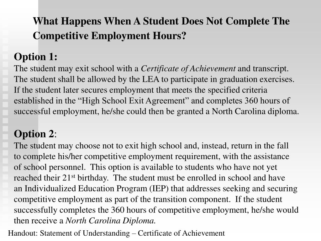What Happens When A Student Does Not Complete The Competitive Employment Hours?