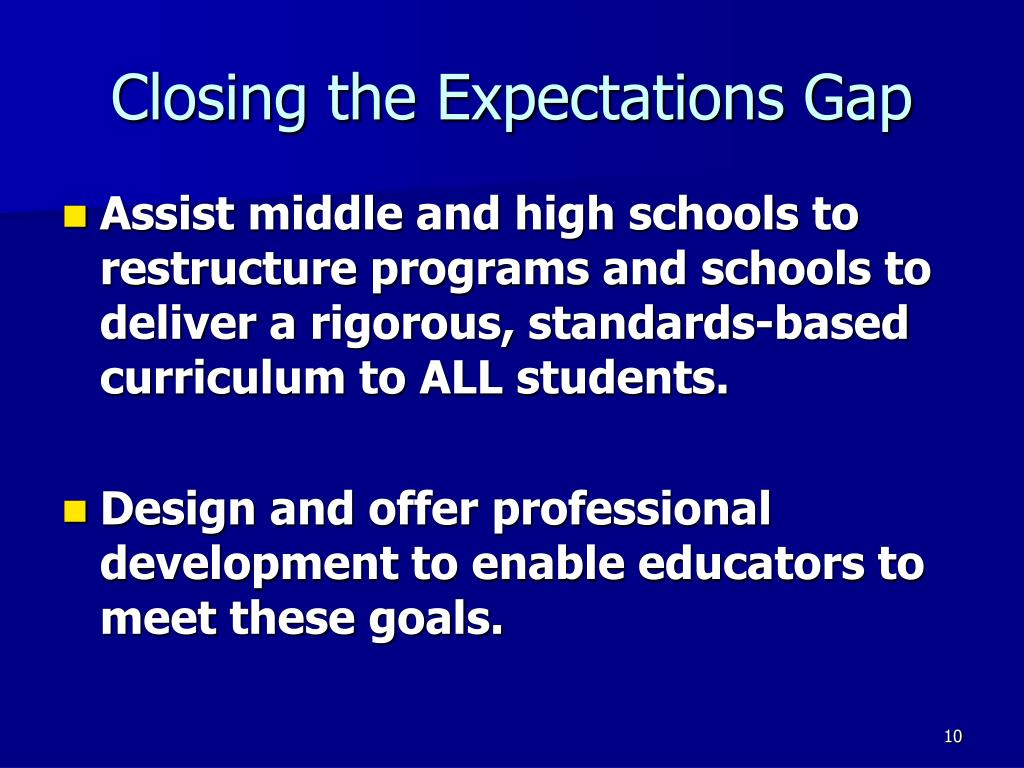 Closing the Expectations Gap