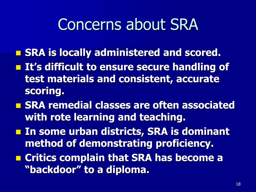 Concerns about SRA